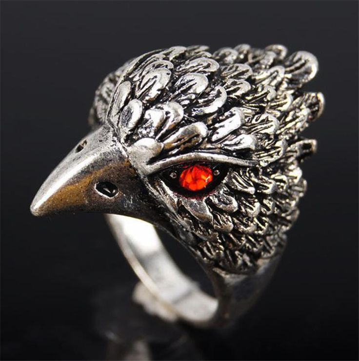 http://rubies.work/0629-multi-gemstone-ring/ Animal Ring Punk Eagle Head Bird Skeleton Biker Ladies Jewelry Crystal For Man Thailand Silver ruby