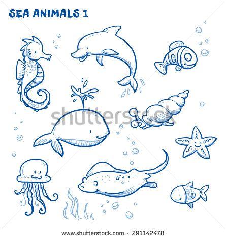 Cute cartoon sea water animals. Whale, fish, dolphin, jellyfish, seahorse, snail, ray, starfish. Hand drawn doodle vector illustration. - stock vector