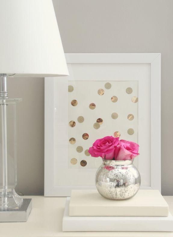 silver polka dot frame tutorial (as well as spray painting a cute side table!)