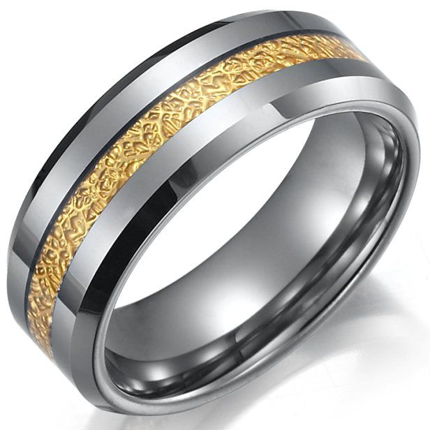 This stunning style will definitely add an impressive upscale touch to your look, Featuring a unique gold stripe on gorgeous, silver tungsten. Can be a great wedding band or engagement ring!