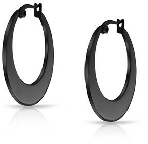 Bling Jewelry Black Stainless Steel Flat Hoop Earrings.