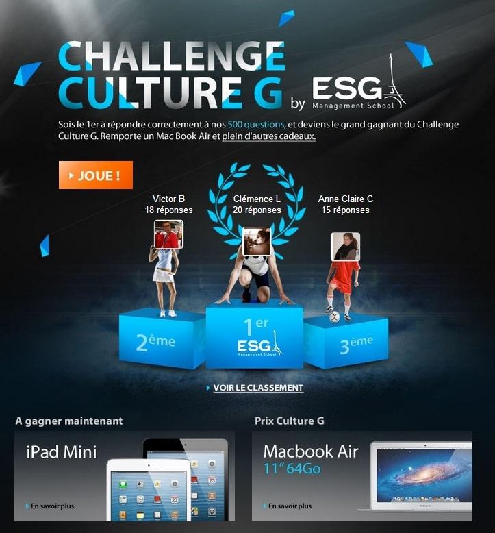 Participez aux Challenge Culture G ! L'ESG Management School aide les jeunes à s'entraîner pour les concours des Grandes Ecoles de Commerce de façon ludique. #concours #écolecommerce #challengecultureG