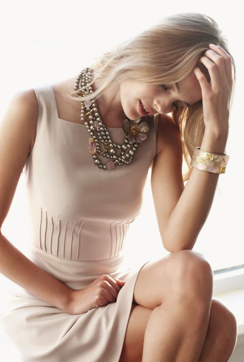 ZsaZsa Bellagio: Elegant: Statement Necklaces, Dresses Fashion, Edita Vilkeviciute, Summer Style, Outfit, Neutral Tones, The Dresses, Accessories, Cream