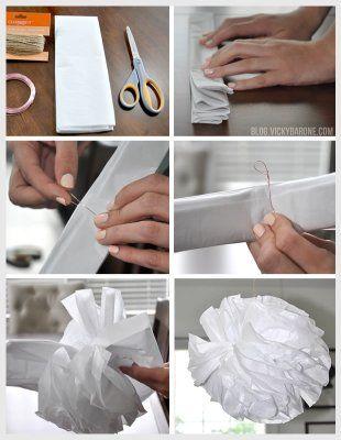 DIY Tissue Paper Pom Poms - Party Decor - Birthday