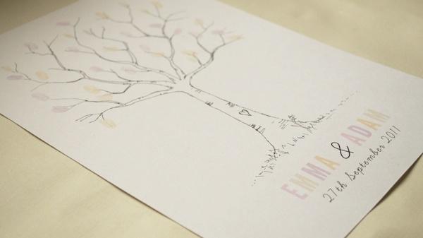 Thumbprint DIY wedding guestbook tree FREE PRINTABLE