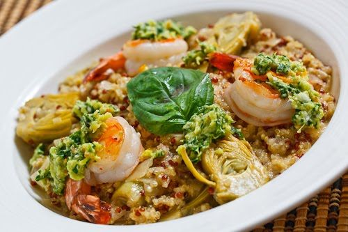artichoke quinoa risotto with shrimp and lemon pesto. YUM-O