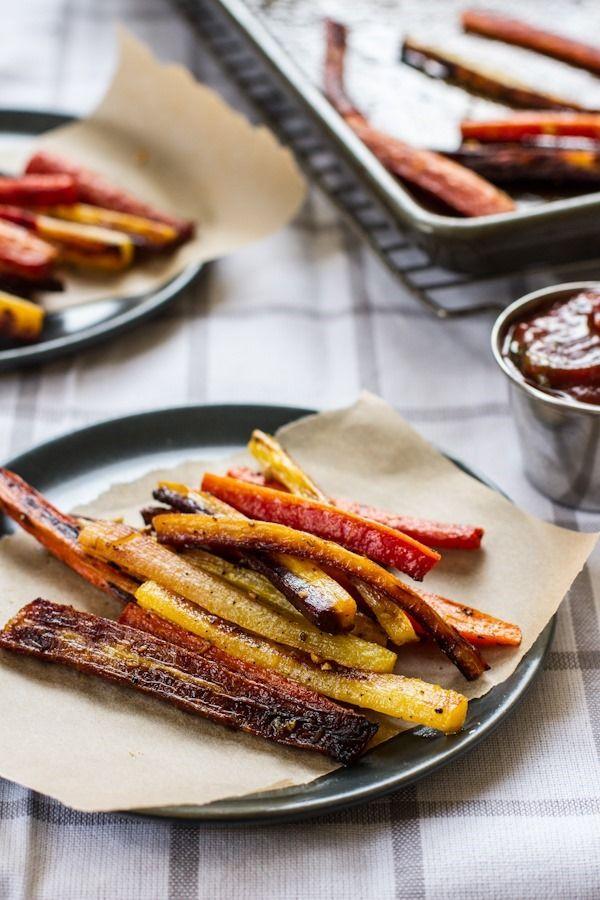 Roasted carrot fries with garlic basil ketchup