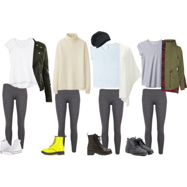 What To Wear With Grey Leggings (Winter) by samsus on Polyvore featuring Uniqlo, Athleta, Gérard Darel, Organic by John Patrick, Monki, Vero Moda, Love, Bronx, Converse and Dr. Martens