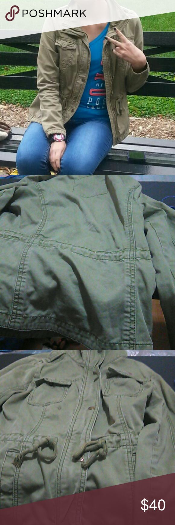 Military Jacket It is a green military jacket with four pockets. It has been worn before. It has a small stain on the left side below the top pocket. It perfect for any occasion. I am willing to make a offer. Hollister Jackets & Coats