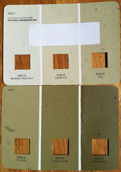 Earthy Valspar Greens--Dakota Trail is the color I currently have in my living room. I really like it and think I want to do the new bedroom walls this color.