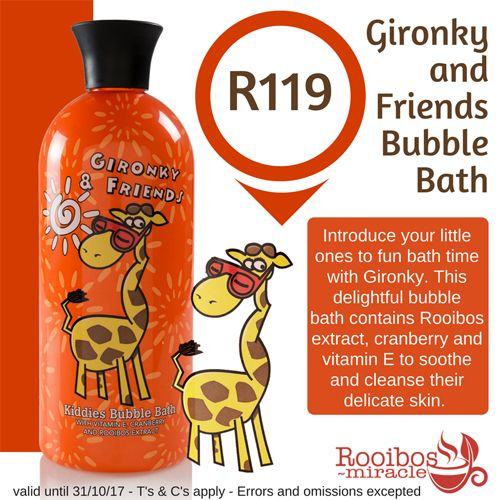 Gironky & Friends Bubble Bath 500ml - LIMITED EDITION *** | Annique​​  This specially formulated bubble bath contains soothing vitamin E, anti-inflammatory properties of Cranberry and Rooibos-extract for its potent natural antioxidant and anti-allergic properties. #annique #rooibosmiracle #octoberspecials