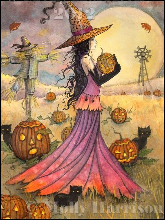 October Fields Fantasy Art Original Witch Cat Halloween Archival Giclee Print 9…