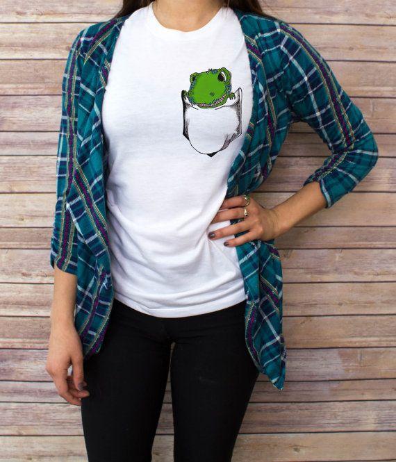 Women's Dinosaur Pocket T shirt V Neck tank top by BeesPocketTees