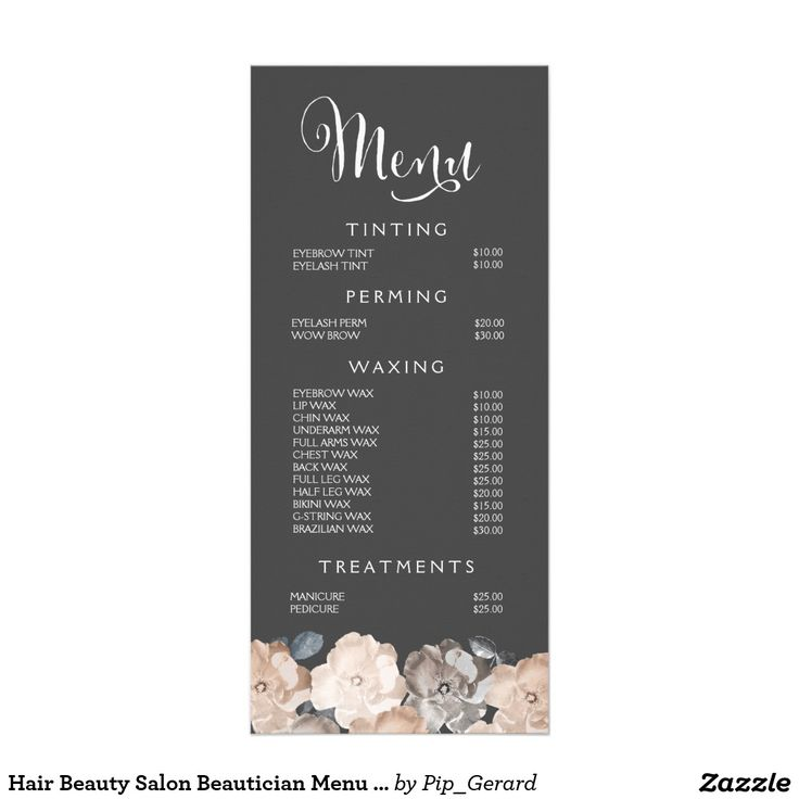 Lovely Spa Menu Template   Google Search