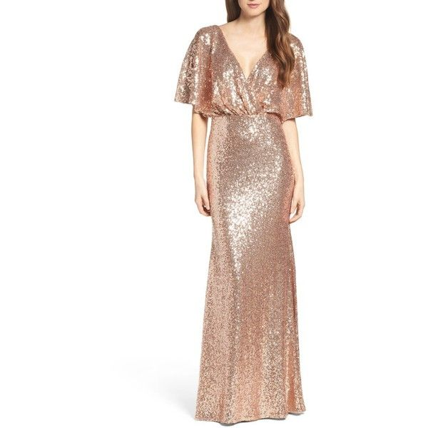 Women's Watters Elson Sequin Blouson Gown (£250) ❤ liked on Polyvore featuring dresses, gowns, rose gold, blouson dress, white sequin gown, white evening gowns, white open back dress and sequin ball gown