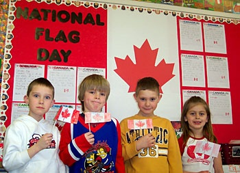 The Grade 1 students at St. Michael Catholic School (Sudbury, Ontario) proudly celebrated National Flag Day on February 15.