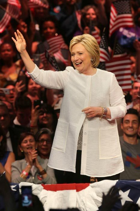 Hillary Clinton on the center stage at the presidential primary election night rally in June 2016 in New York...