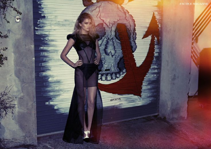 Factice Magazine Exclusive Oct 2013. Silk organza dress with leather contrast panels designed by Ying Yuan.