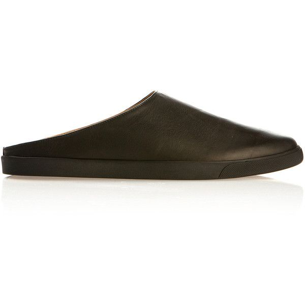 The Row Eric Black Leather Mules (€715) ❤ liked on Polyvore featuring shoes, black shoes, rubber sole shoes, black rubber sole shoes, leather mules shoes and leather mules