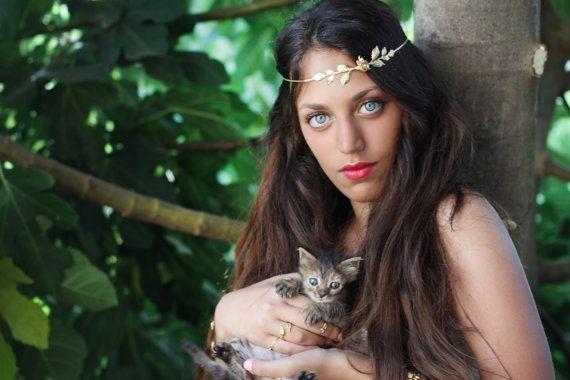 Rosalinda Bridal Hair accessories, Forehead Band, Delicate Golden Leaves Hair Wreath, Gold Leaf Hair Chain, Wedding Headband, Greek Goddess on Etsy, $70.00
