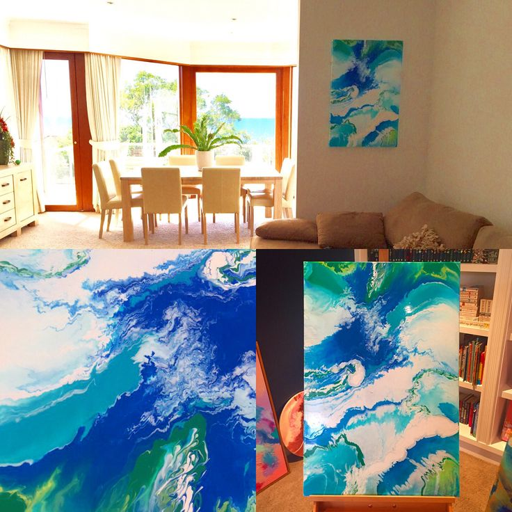A beautiful Northern Beaches view inspired the palette for this fluid art commission now in a gorgeous family's beautiful  home! Created using liquitex pouring medium!