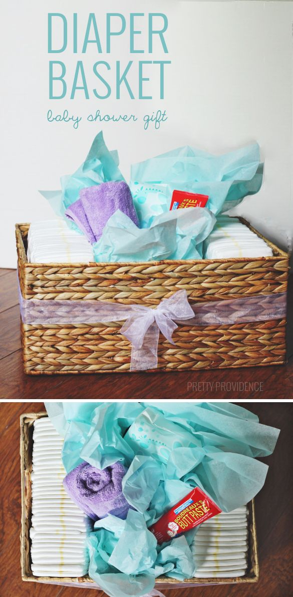 Cute and PRACTICAL baby shower gift! Diapers, wipes, a towel + butt paste in a pretty basket.