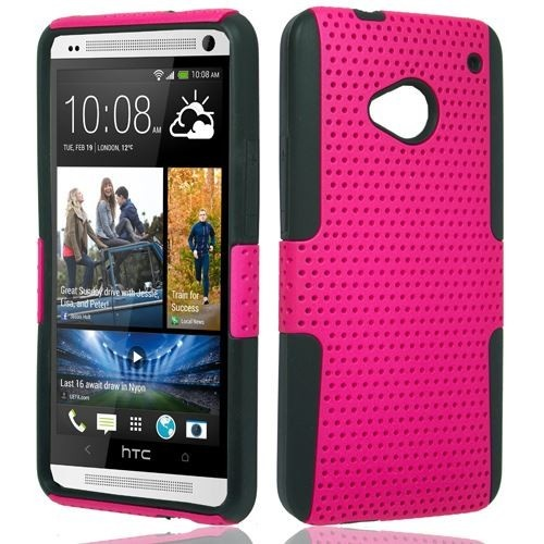 Hey girls, love something cute but still always keep your device well in safety, you must consider this. $11.99. http://www.acetag.com/catalog/product/view/id/164825/s/htc-one-m7-hybrid-perforated-hot-pinkblack-protector-hard-case-cover/ #HTC #One #M7