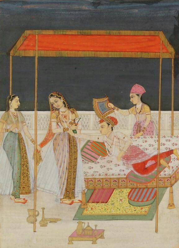 Prince and courtesan on a terrace, Provincial Mughal, North India, late 18th century, depicting a prince on a canopied bed, grasping the wrist of a courtesan who holds a rosewater sprinkler.