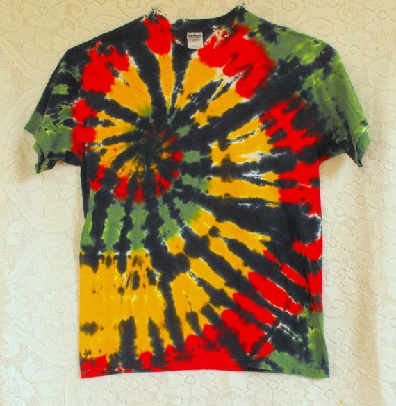 Tie Dye T Shirt in Rasta Colors by inspiringcolor on Etsy
