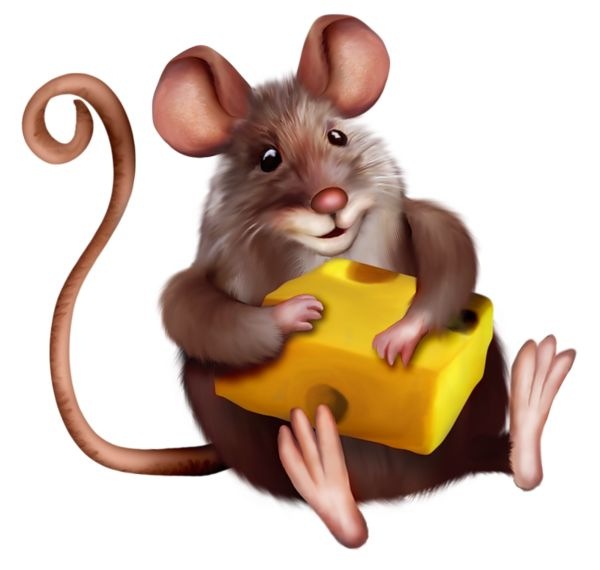 Mouse with Cheese Clipart Cartoon