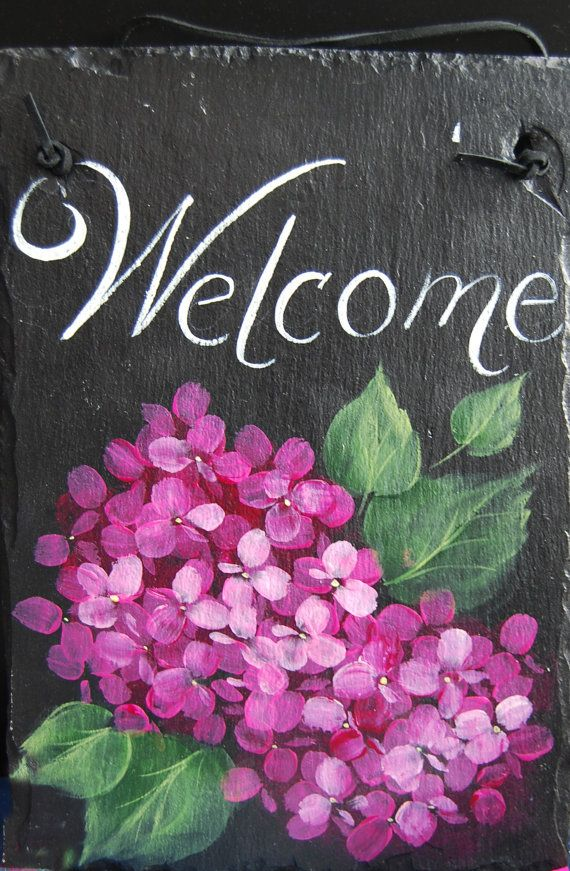 Hand Painted Pink Hydrangea Welcome Slate by ArtfulM on Etsy, $32.00