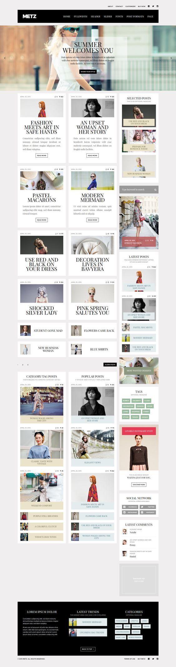 65 best Blog Template Inspiration images on Pinterest | Website ...