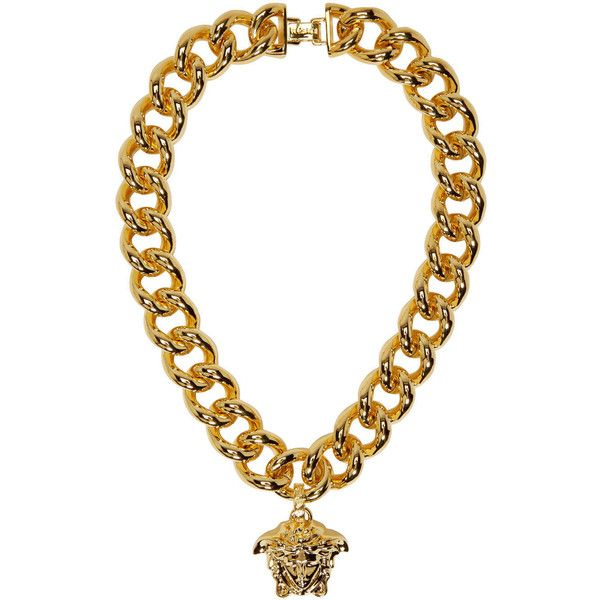 Versace Gold Thick Chain Medusa Necklace ($765) ❤ liked on Polyvore featuring jewelry, necklaces, gold pendant necklace, thick chain necklace, gold pendant, yellow gold necklace and pendants & necklaces
