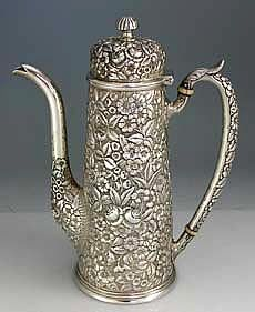 Stieff Repousse Sterling Coffee or Chocolate Pot