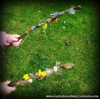 "Sun Hats & Wellie Boots: Make nature wands with sticky-taped sticks ("",)"