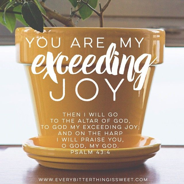 "God, you are my exceeding joy! ""Then I will go to the altar of God, to God my exceeding joy; and on the harp I will praise you, O God, my God."" Psalm 43:4"