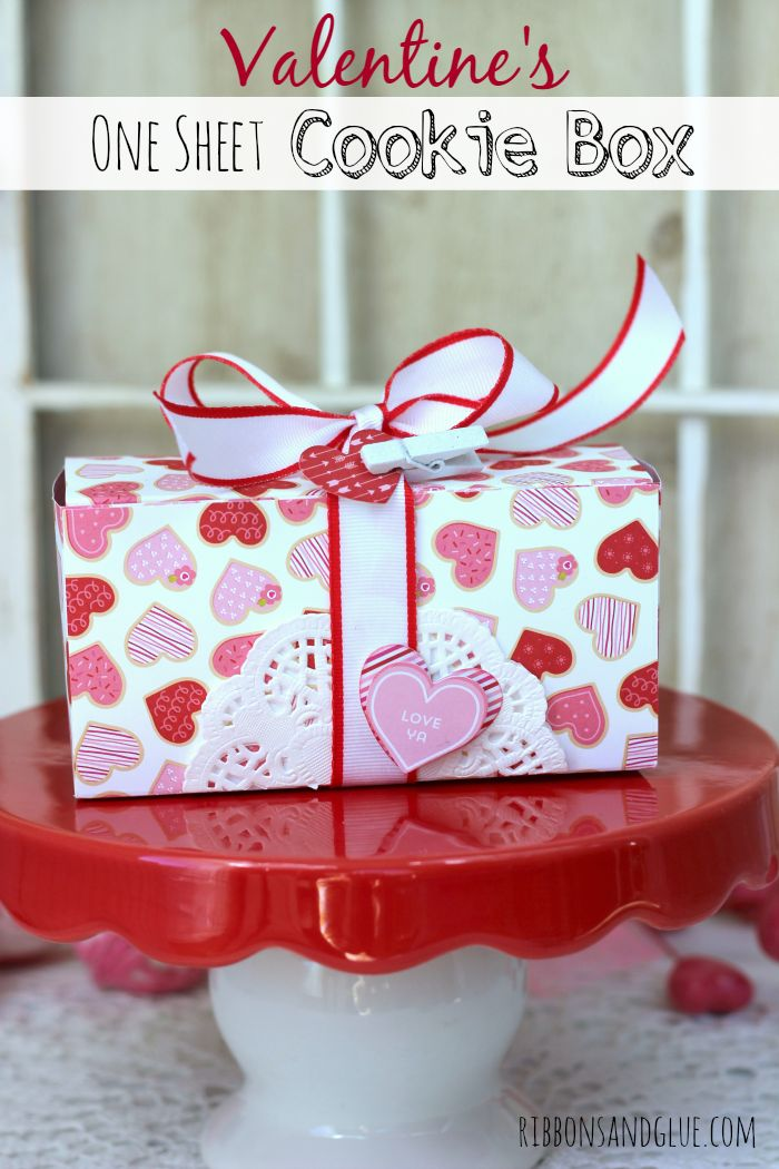 Valentine's One Sheet Cookie Box. All you need is one sheet of Scrapbooking paper to fill this box up with all sorts of Valentine's treats!