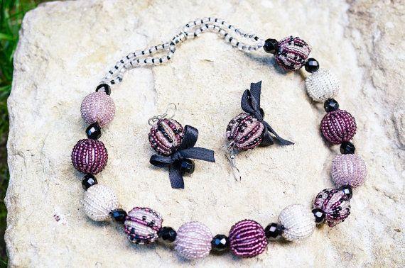 Комплект Ожерелье и Серьги Виолетта от bellinalviv на Etsy, $45.00
