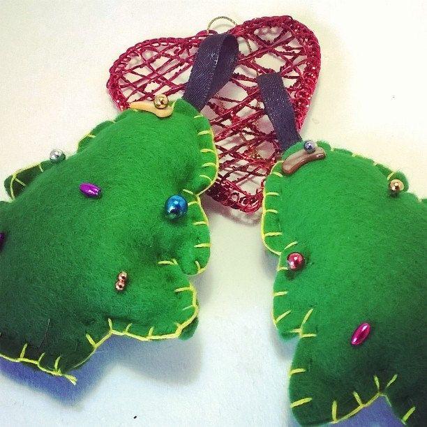 Christmas Tree Decorations - Hand stitched felt decorations - Christmas trees by NJscollection on Etsy