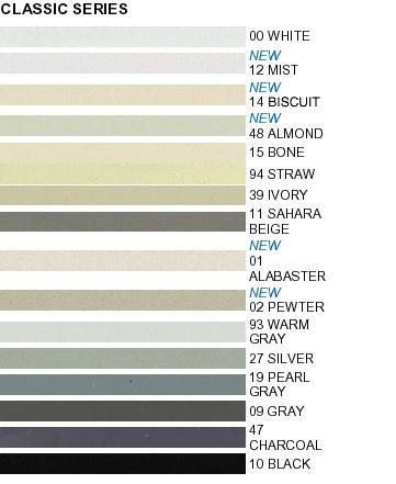 Mapei grout colors - classic series.  There's a better chart on Mapei's web site: http://www.mapei.us/Grouts_chart.html