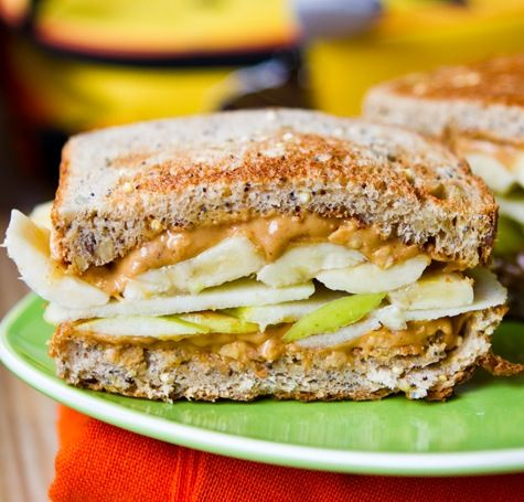 Apples, bananas, and peanut butter.Fun Recipe, Food, Bananas Recipe, Fruit Snacks, Butter Sandwiches, Savory Recipe, Peanut Butter, Apples Sandwiches