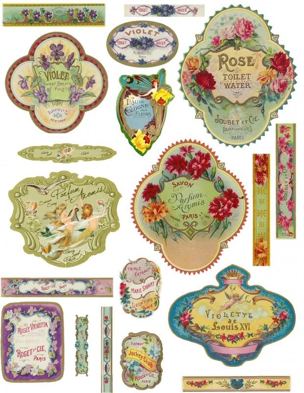 Vintage labels - Sheet french perfume