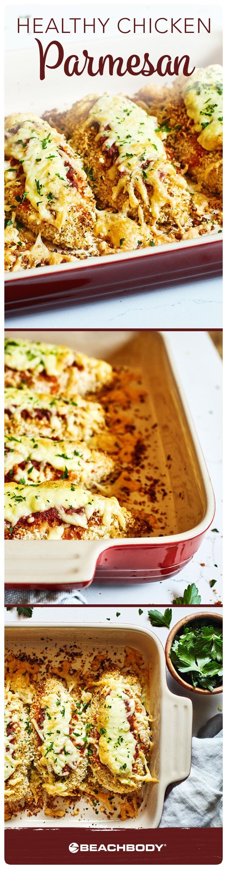 """Chicken Parmesan also usually falls on the """"unhealthy"""" list. To replicate the crispy fried coating, we dipped lean chicken breasts in spiced breadcrumbs and baked them. // healthy // recipe // dinner // chicken parm // chicken recipe // Beachbody // BeachbodyBlog.com"""