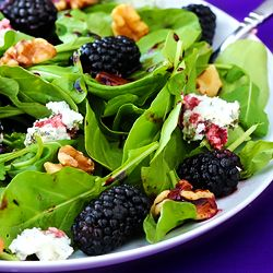 Spinach salad with berries, chevre, and toasted walnuts + an easy blackberry-balsamic vinaigrette