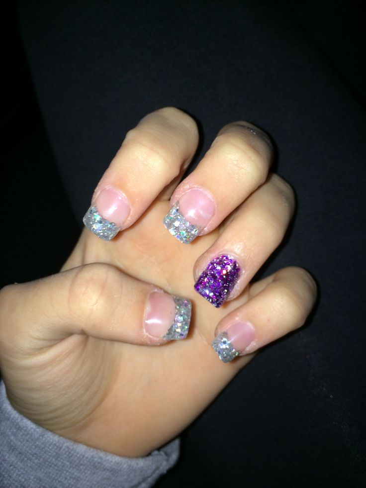 Silver & Purple Acrylic Nails | PROMMMMM | Pinterest ...