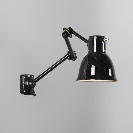Wandleuchte Factory schwarz: Stabile Wandleuchte mit Emaille-Schirm! #Wandleuchte #schwarz #Industrieleuchte