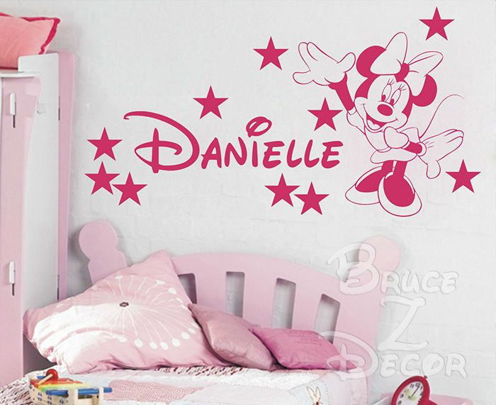 Find More Wall Stickers Information about [B.Z.D] Free Shipping DIY Minnie Mouse Personalized Name Art Decals Home Decor Vinyl Wall Stickers for Children Bedroom 125x65cm,High Quality decal wall,China decal stickers for cars Suppliers, Cheap mouse for a laptop from Bruce Z. Decor on Aliexpress.com