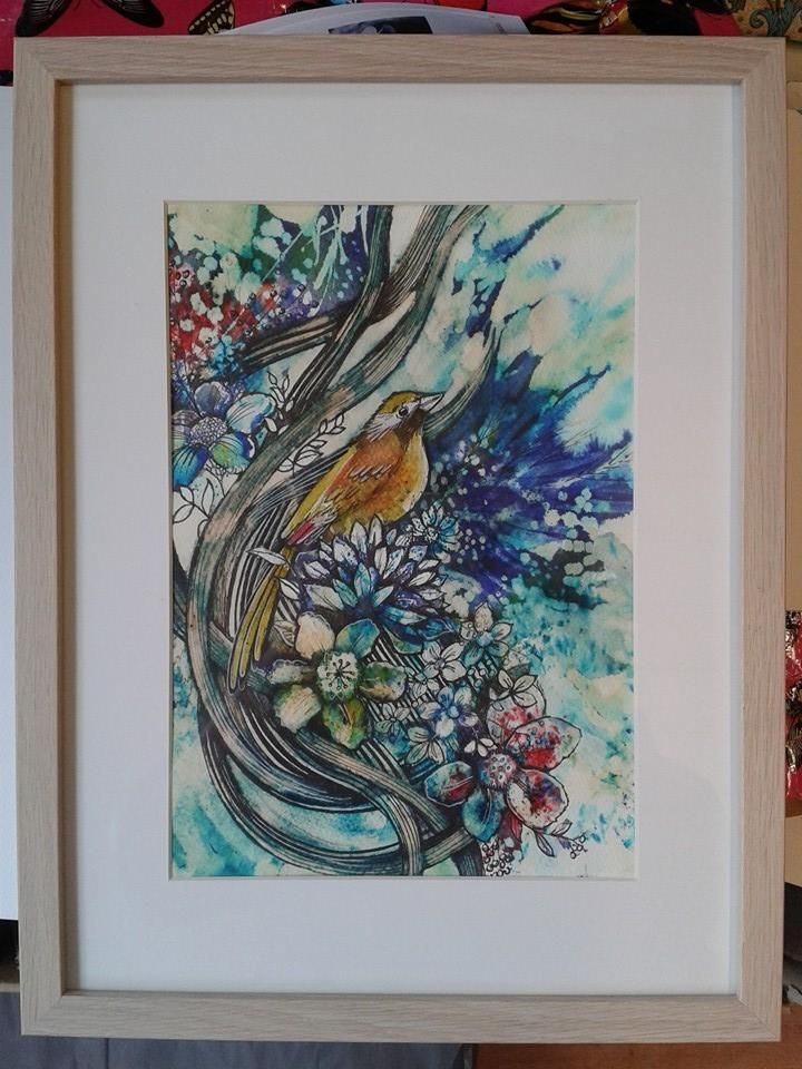 watercolour, ink and Brusho, flower painting by https://www.facebook.com/RebeccaYoxallArt
