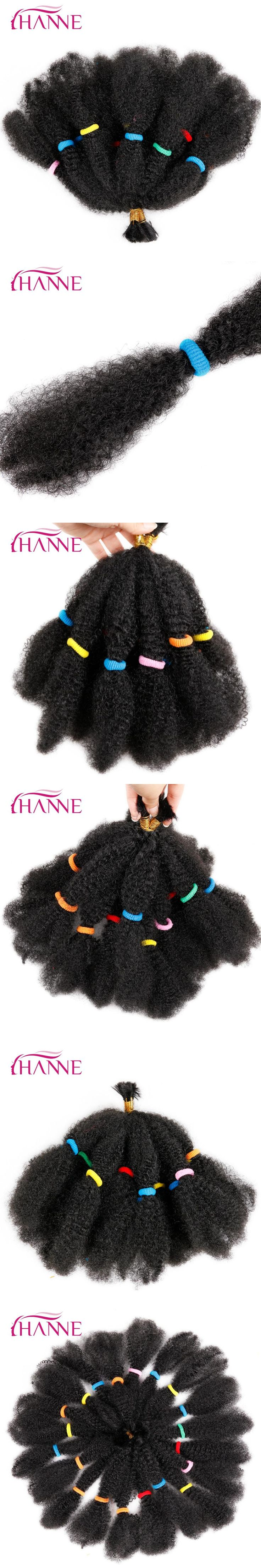 HANNE Bulk Hair Small Afro Kinky Curly Extensions 12Inch Black Or Ombre Mixed 1B#BUG Pre Braided Hair Extension Synthetic Weave