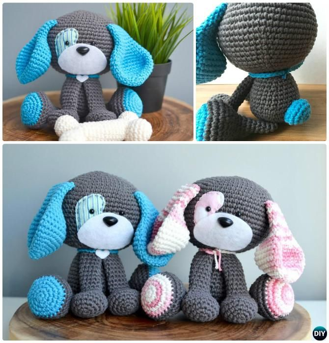 DIY Domino The Dog Amigurumi Crochet Pattern-Crochet Amigurumi Puppy Dog Stuffed Toy Free Patterns